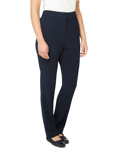 Eastex Crepe Straight-Leg Trousers-NAVY-UK 20/US 18