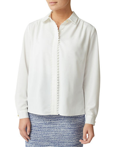 Eastex Scalloped Button-Down Shirt-IVORY-UK 14/US 12