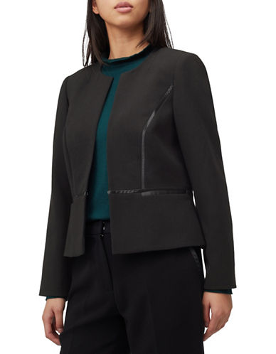 Precis Petite Petite Satin-Trimmed Jacket-BLACK-UK 6/US 4
