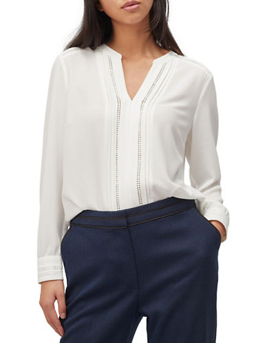 Precis Petite Lace-Trimmed Pintuck Blouse-IVORY-UK 10/US 8