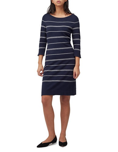 Precis Petite Stitch Stripe Sweater Dress-NAVY-UK 6/US 4