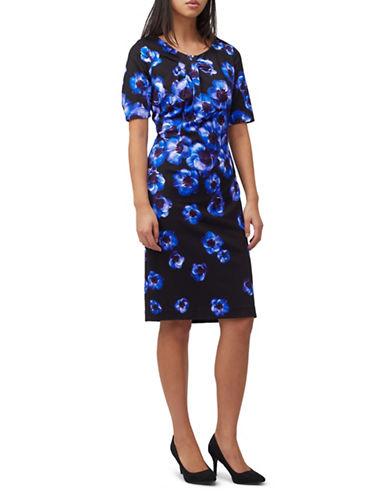 Precis Petite Poppy Bloom Sheath Dress-NAVY-UK 14/US 12