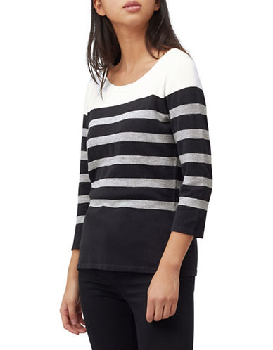 Precis Petite Stitch Stripe Jumper-NAVY-Medium