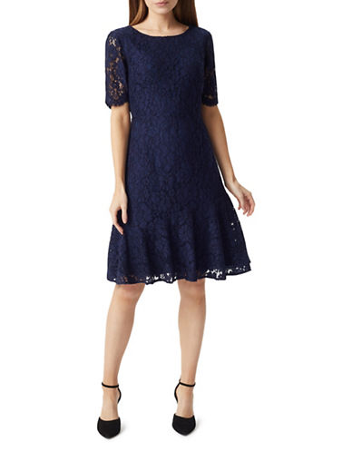 Precis Petite Petite Lace Flippy Hem Fit-and-Flare Dress-NAVY-UK 14/US 12