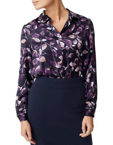 Eastex Inky Leaves Print Blouse-NAVY-UK 10/US 8