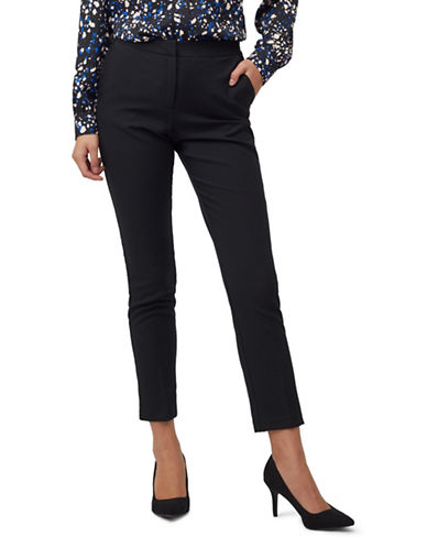 Precis Petite Petite Satin-Trimmed Trousers-BLACK-UK 10/US 8