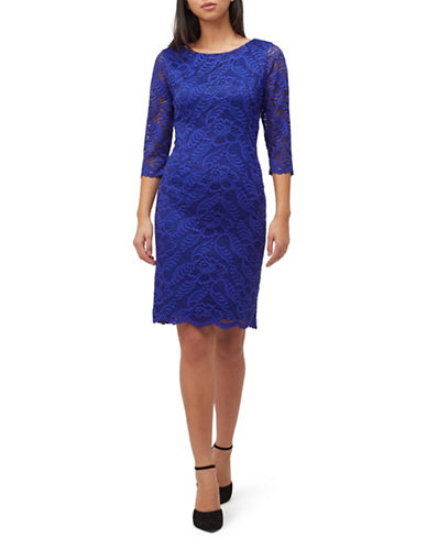 Precis Petite Two-Tone Lace Sheath Dress-MID BLUE-UK 18/US 16