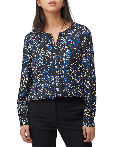 Precis Petite Abstract Animal-Print Blouse-NAVY-UK 8/US 6
