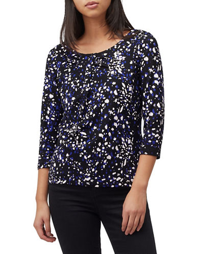 Precis Petite Abstract Animal-Print Top-NAVY-X-Large