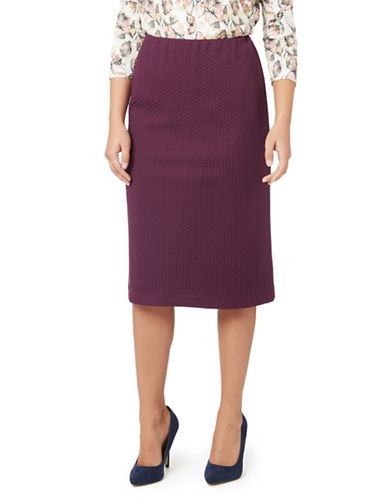 Eastex Textured Ponte Pencil Skirt-DARK PURPLE-UK 10/US 8