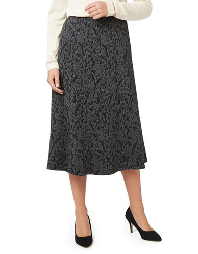 Eastex Floral Vine Fit-and-Flare Skirt-MULTI NAVY-UK 14/US 12