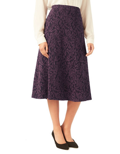 Eastex Textured Ponte Fit-and-Flare Skirt-PURPLE-UK 10/US 8