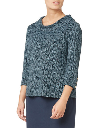 Eastex Textured Cowl neck Three-Quarter Top-NAVY-UK 16/US 14