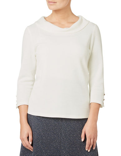 Eastex Ponte Cowl Neck Three-Quarter Top-IVORY-UK 18/US 16