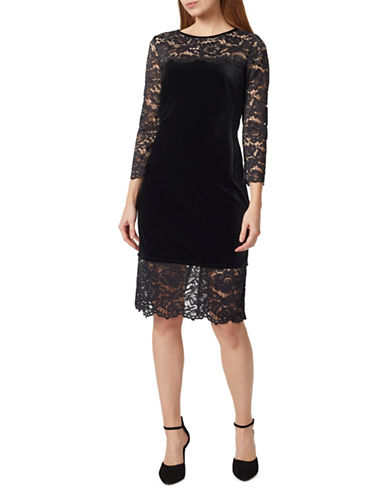 Precis Petite Velvet and Lace Knee-Length Dress-BLACK-UK 14/US 12