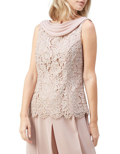 Jacques Vert Cowl Neck Lace Top-PINK-UK 10/US 8