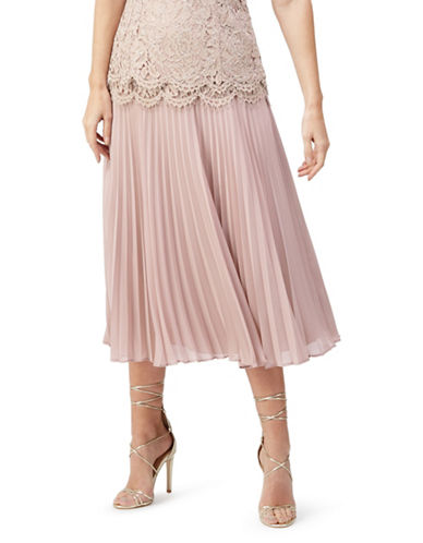 Jacques Vert Lace-Trimmed Pleated Skirt-PINK-UK 12/US 10