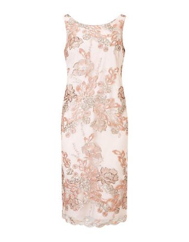 Jacques Vert Embellished Cape Lace Knee-Length Dress-BEIGE-UK 10/US 8