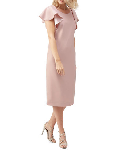 Jacques Vert Ruffle Sleeve Knee-Length Dress-PINK-UK 14/US 12