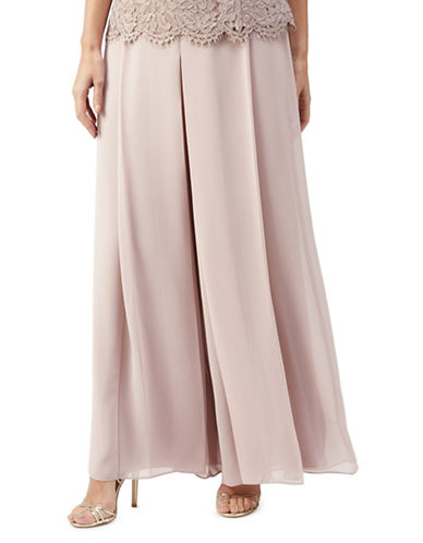 Jacques Vert Chiffon Wide-Leg Trousers-PINK-UK 12/US 10
