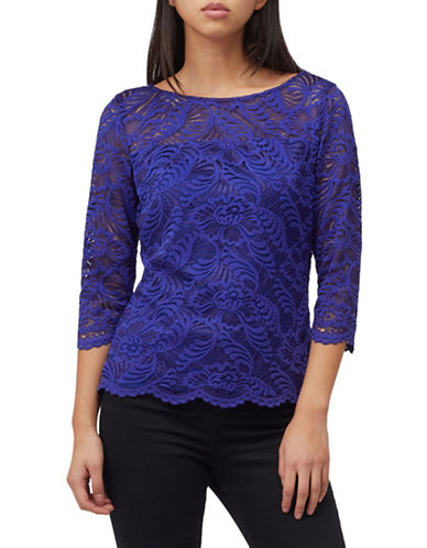 Precis Petite Two-Tone Lace Top-MID BLUE-UK 16/US 14