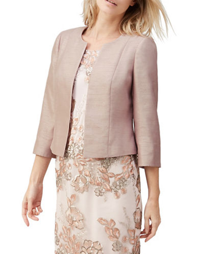 Jacques Vert Shantung Open Front Jacket-BEIGE-UK 14/US 12