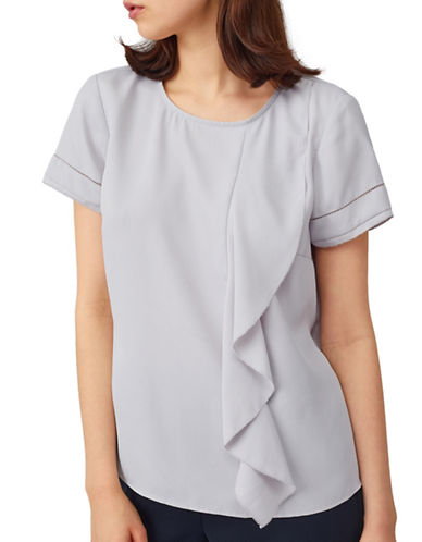 Precis Petite Pretty Ruffle Top-LIGHT GREY-UK 6/US 4