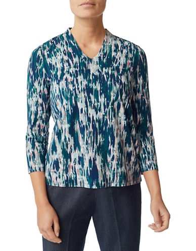 Eastex Texture Print Jersey Top-MULTI BLUE-UK 14/US 12
