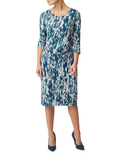 Eastex Printed Jersey Midi Dress-MULTI BLUE-UK 18/US 16