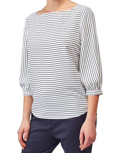 Precis Petite Stripe Woven Shell Top-IVORY-UK 16/US 14