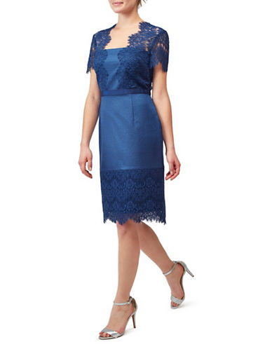 Precis Petite Shimmer Lace Dress-NAVY-UK 14/US 12
