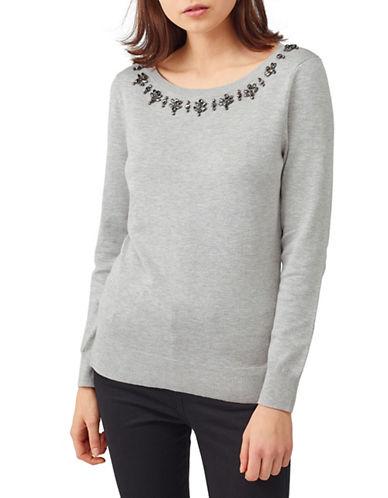 Precis Petite Embellished Trim Sweater-LIGHT GREY-X-Large