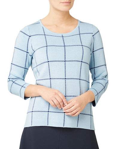 Eastex Check Print Sweater-BLUE-UK 20/US 18