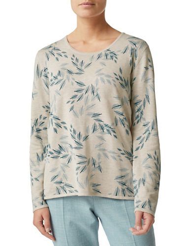 Eastex Leaf Print Long Sleeve Top-NEUTRAL-UK 16/US 14