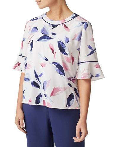 Eastex Montalk Palm Flute-Sleeve Top-CREAM-UK 10/US 8