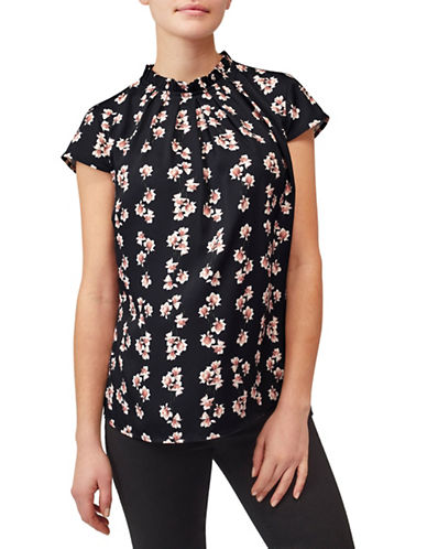 Precis Petite Rose Woven Top-MULTI BLACK-UK 14/US 12