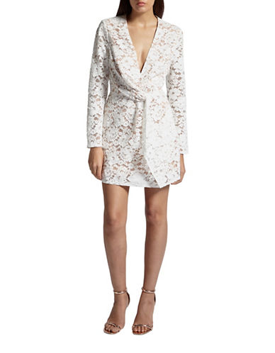 Missguided Plunge Neck Lace Twist Flare Dress-WHITE-UK 8/US 4