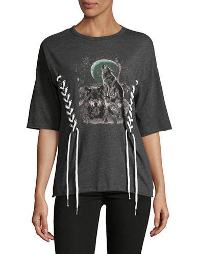 Missguided Laced Wolf Print Tee-GREY-UK 16/US 12