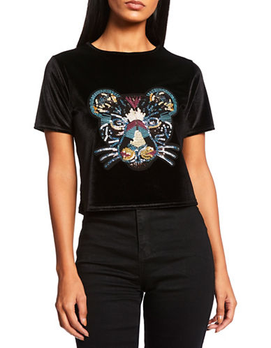 Missguided Velvet Tiger Embroidered Tee-BLACK-UK 6/US 2