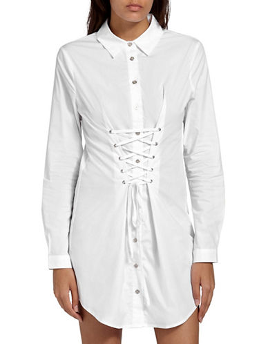 Missguided Lace-Up Shirt Dress-WHITE-UK 12/US 8
