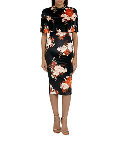 Missguided Floral Velvet Midi Dress-MULTI-UK 16/US 12