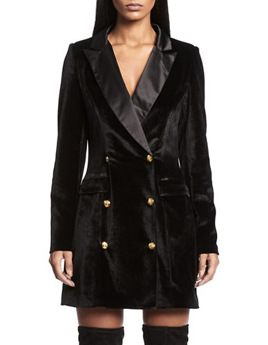 Missguided Double-Breasted Velvet Blazer-BLACK-UK 14/US 10