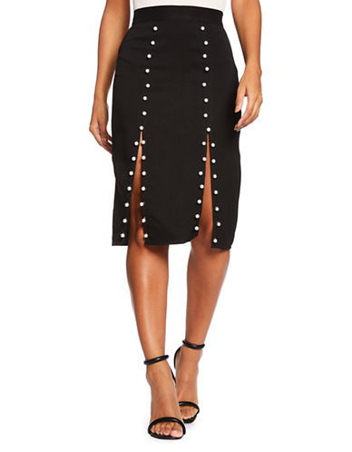 Missguided Pearl Stud Midi Skirt-BLACK-UK 14/US 10