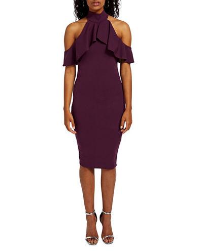 Missguided Highneck Frill Cold Shoulder Midi Dress-PURPLE-UK 12/US 8