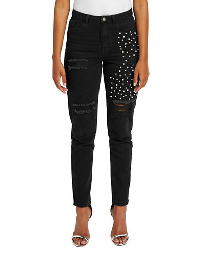 Missguided High-Rise Embellished Distressed Jeans-BLACK-UK 12/US 8