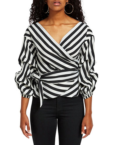 Missguided Asymmetrical Striped Wrap Blouse-BLACK-UK 8/US 4