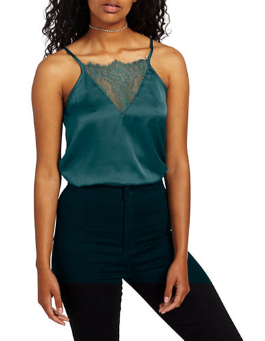 Missguided Sleeveless Lace Bodice Bodysuit-TEAL-UK 12/US 8