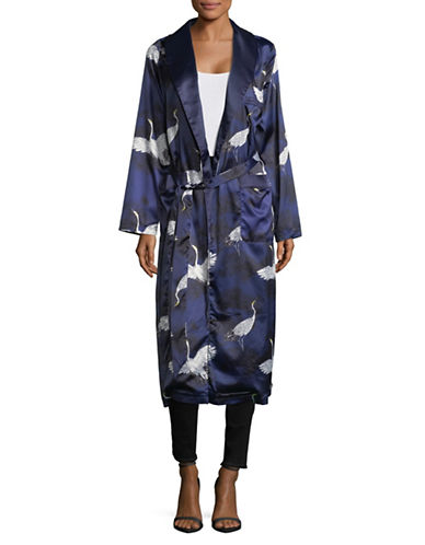 Missguided Printed Longline Belted Duster-BLUE-UK 16/US 12