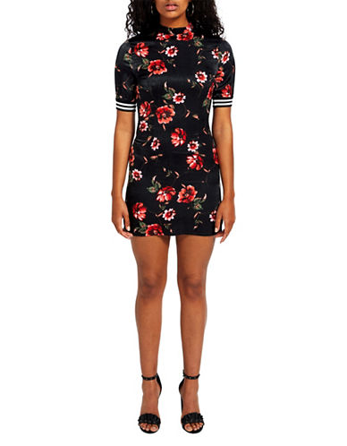 Missguided Satin Floral High Neck Mini Dress-BLACK MULTI-UK 10/US 6