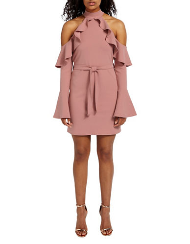 Missguided Cold-Shoulder Ruffle Mini Dress-PINK-UK 12/US 8